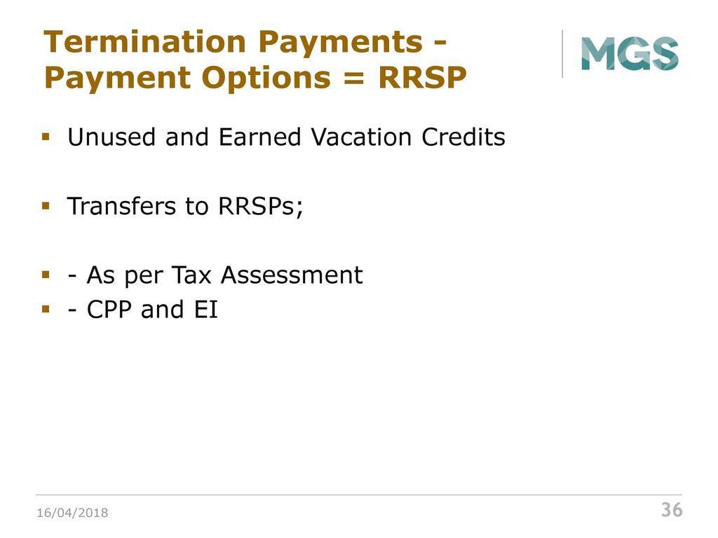 Unused vacation: payments, payments, taxes