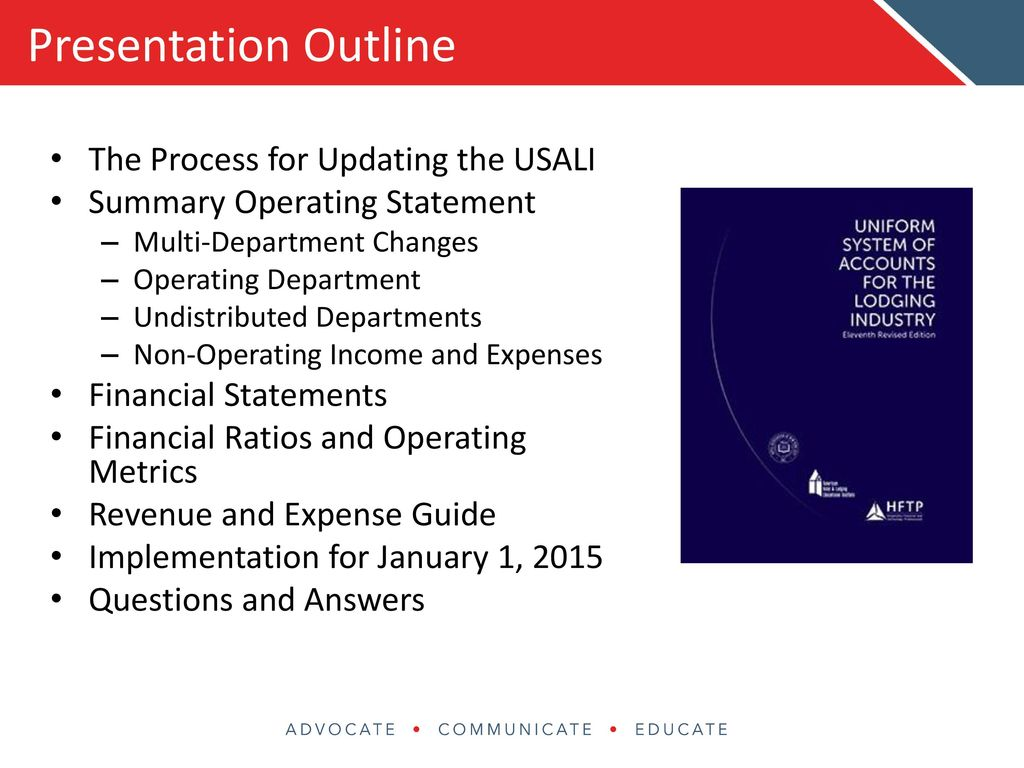 Uniform System Of Accounts For The Lodging Industry Ppt