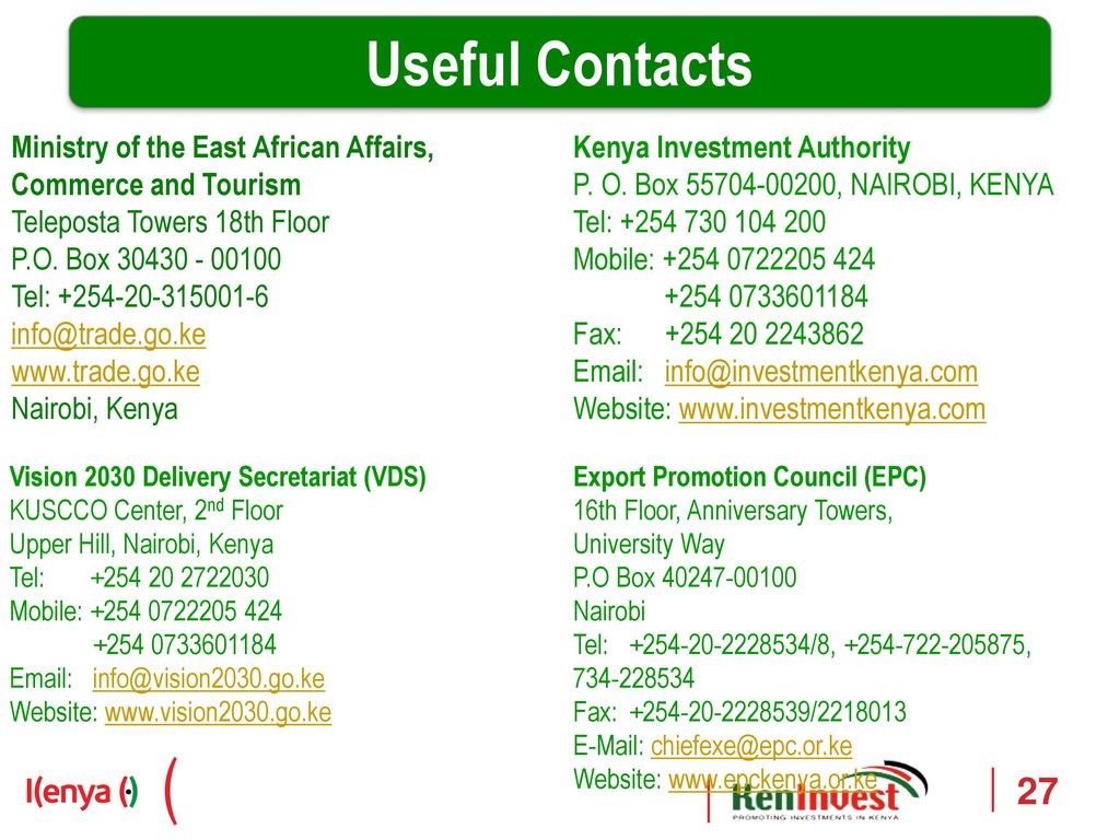 Kenya investment authority contacts cheap investment banking investment management logos software