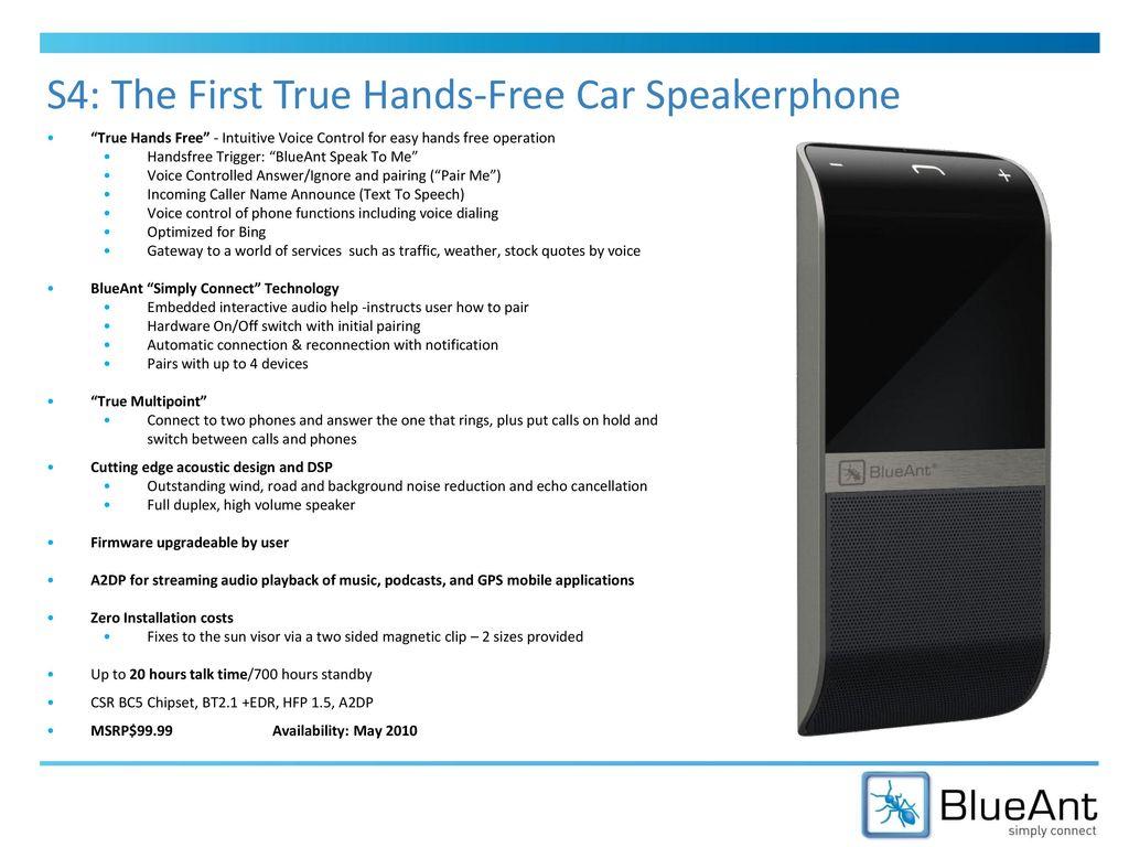 Blueants4 voice control bluetooth car kit user manual users manual.