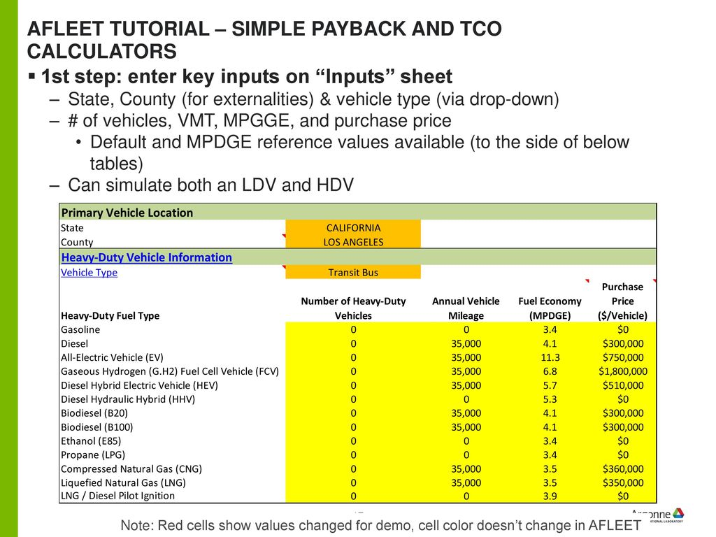 Afleet Tutorial Simple Payback And Tco Calculators