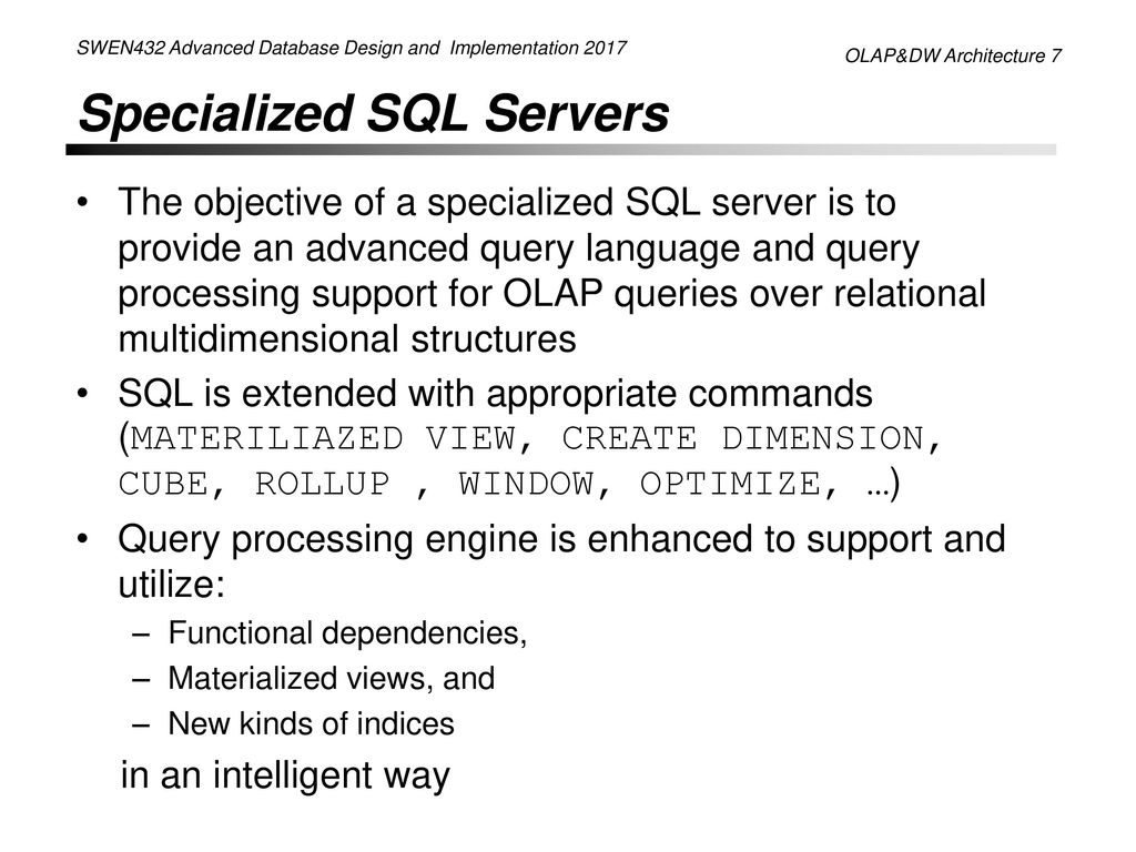 Plan For Olap Dw Architectures Ppt Download
