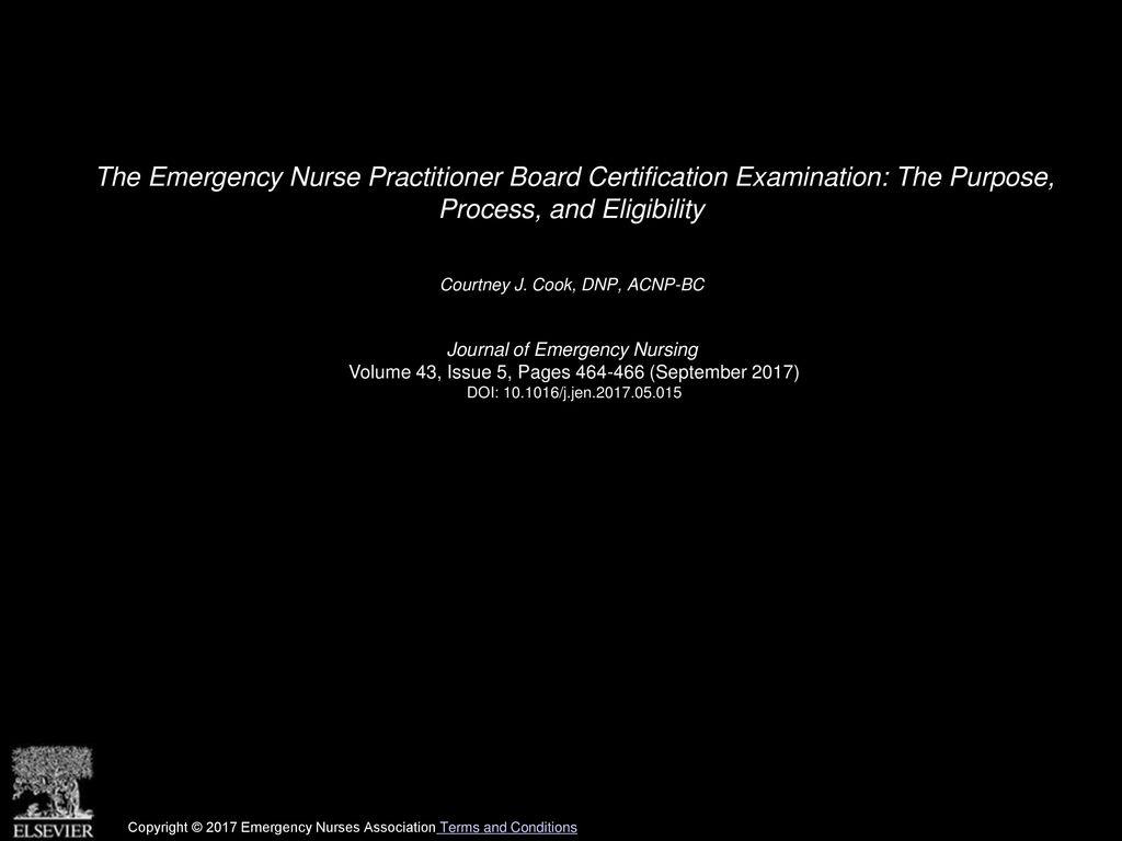 The Emergency Nurse Practitioner Board Certification Examination