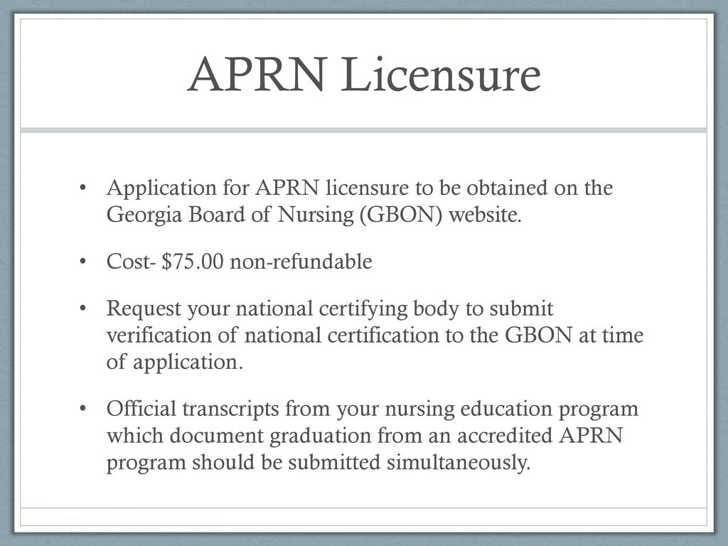 APRN Licensure, Certification and National Provider Identifier - ppt ...
