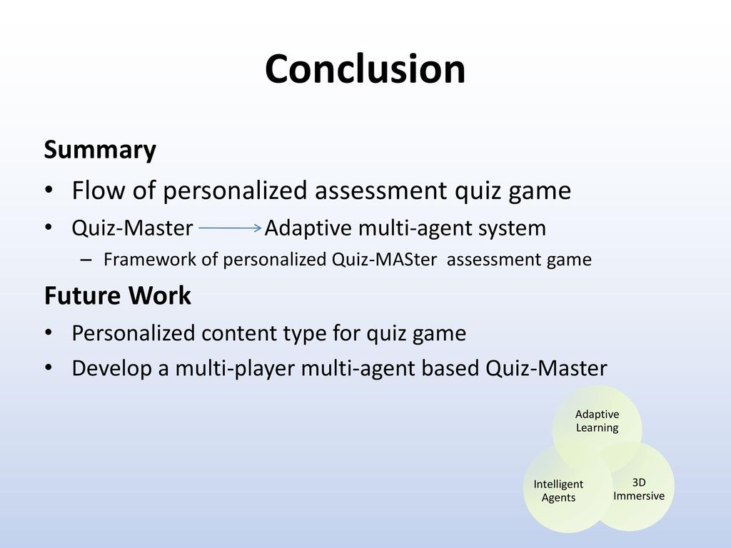A Conceptual Design Of MultiAgent Based Personalized Quiz Game - Game flow summary