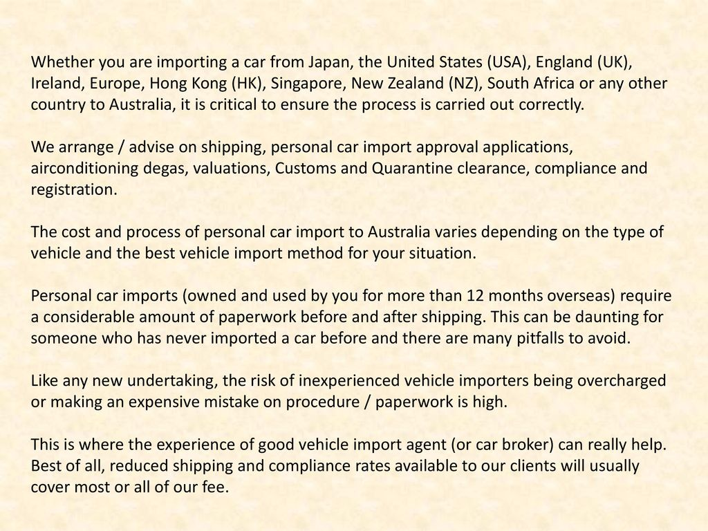 Personal Car Import to Australia from any country - ppt download