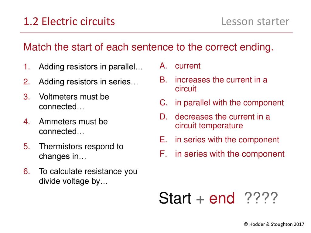 Start End 12 Electric Circuits Lesson Starter Ppt Download Resistances In Series Electrical