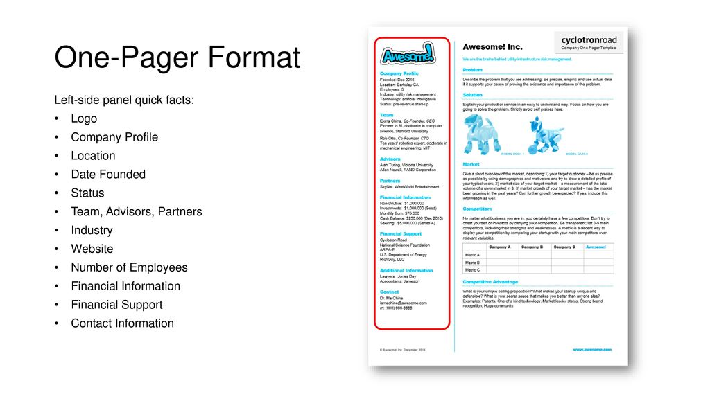 Company One Pagers Teaching Module Dane A Boysen January 30 Ppt