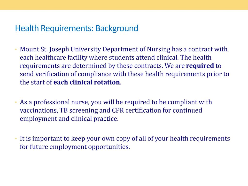 Health Requirements Department Of Nursing Ppt Download