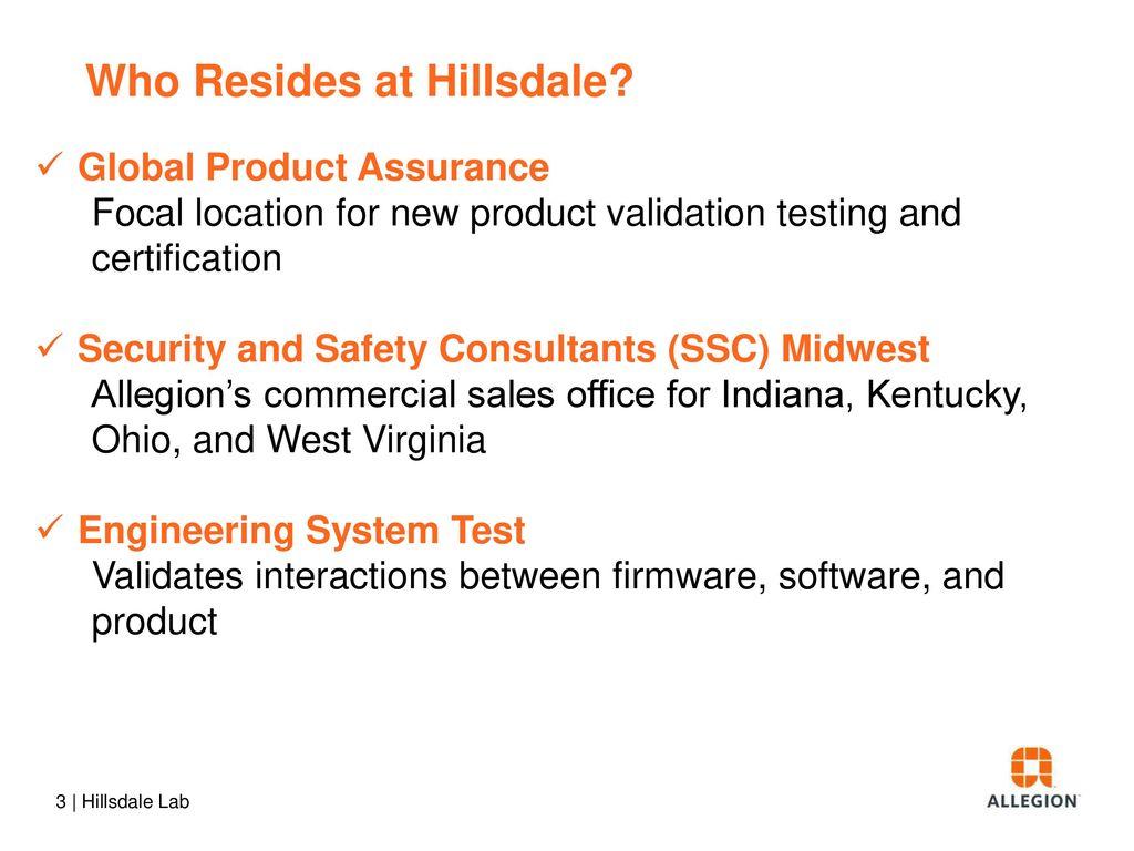 Hillsdale Test Lab Allegion Global Product Assurance - ppt