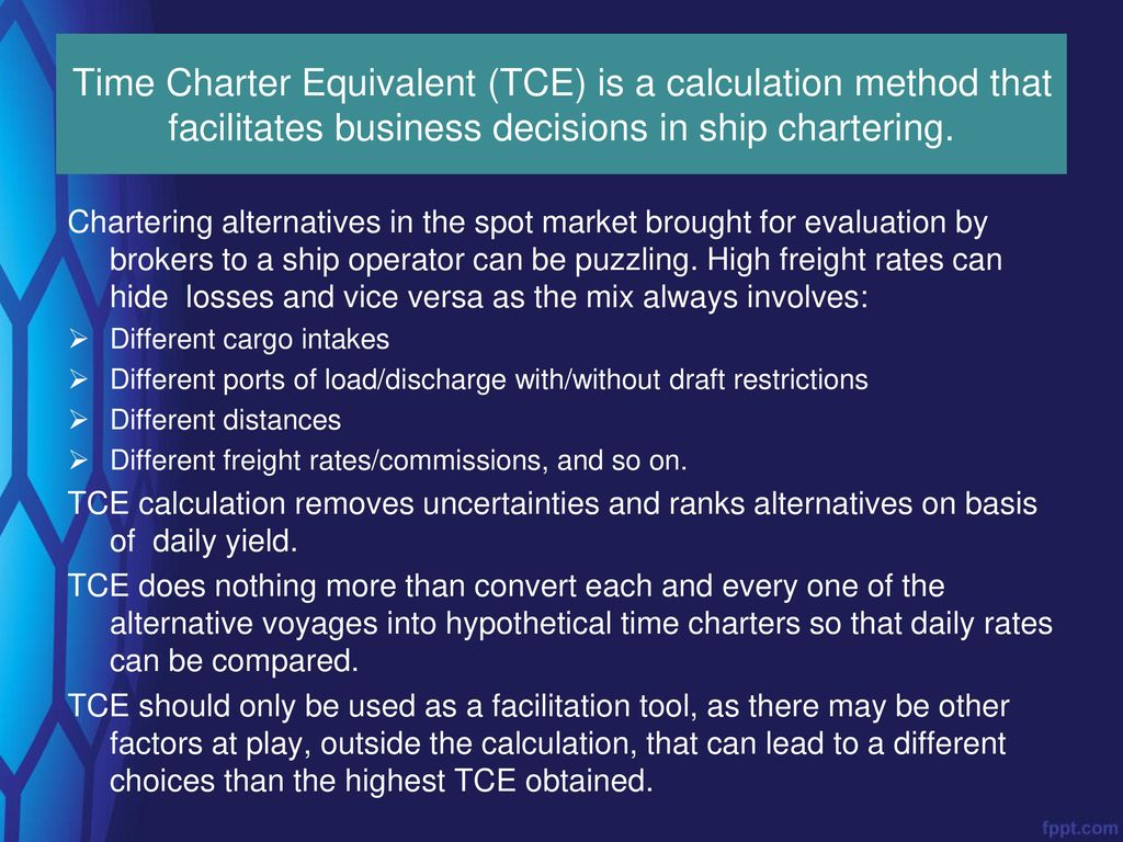 Time Charter Equivalent - ppt download