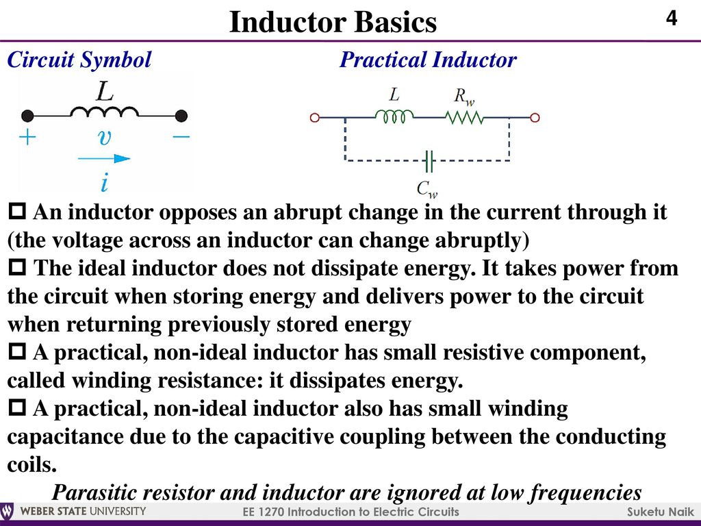 Ee 1270 Introduction To Electric Circuits Ppt Download Inductor Symbols 5