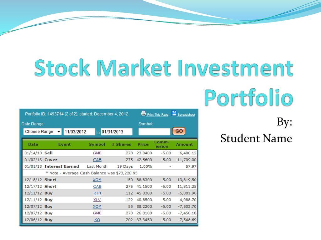 stock market investment portfolio ppt download