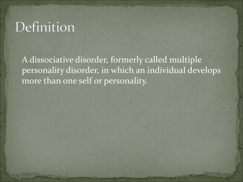 dissociative identity disorder - ppt download