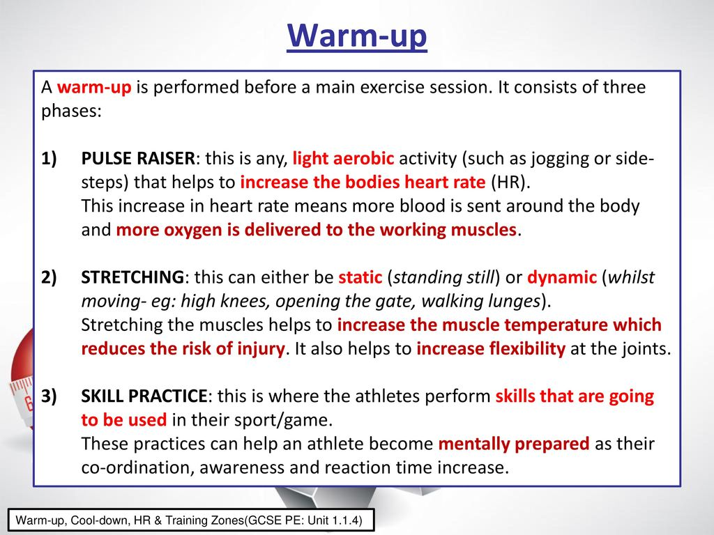 Warm-up   Cool-down Any exercise session should follow the three ... e21e108011c0