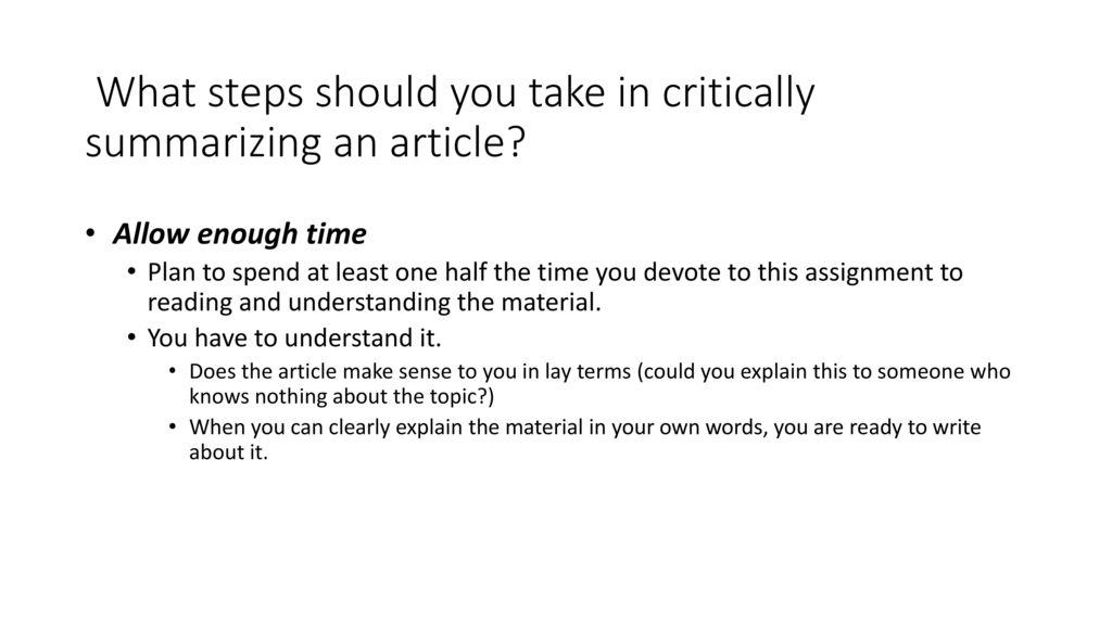 steps to summarize an article