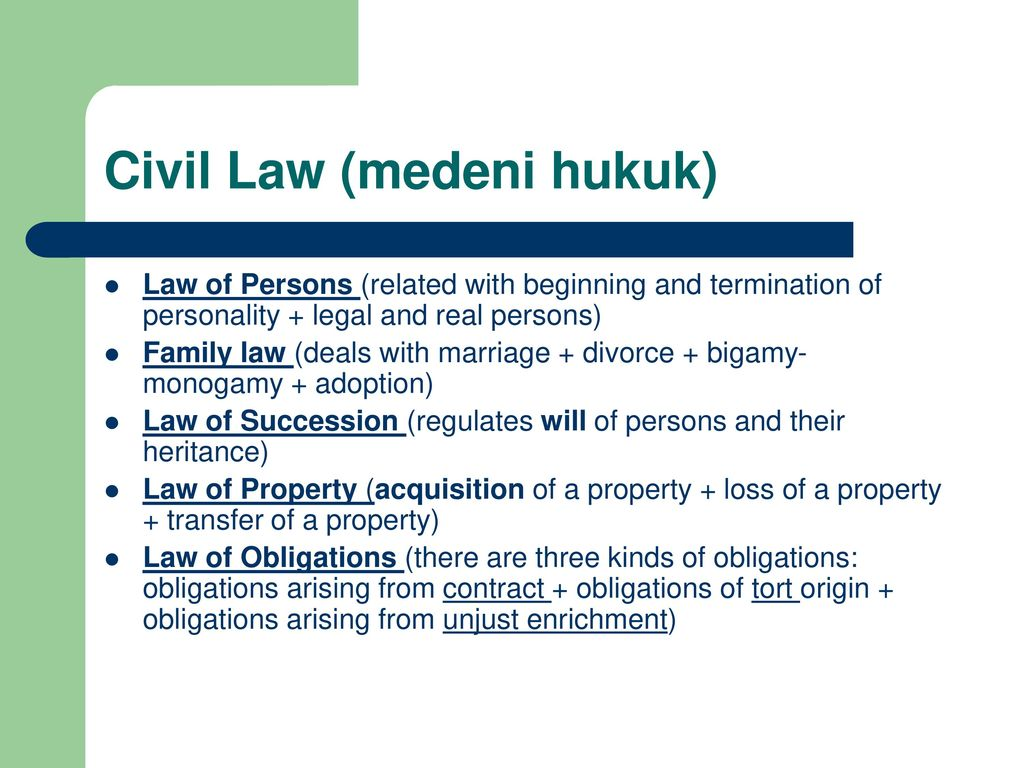 Termination of an obligation in civil law