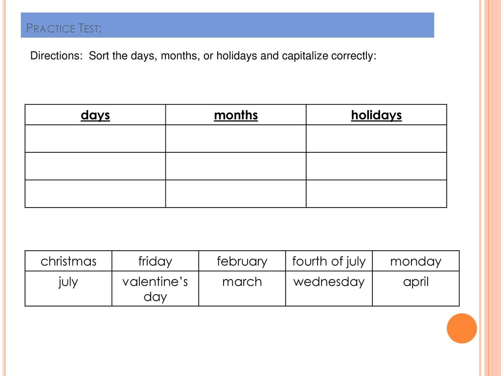 Days, Months, and Holidays - ppt download