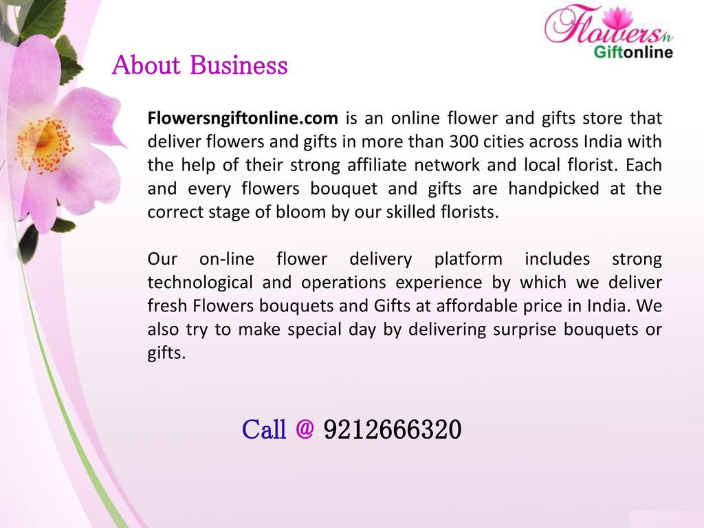 Online flowers gifts delivery in india ppt download 3 about business flowersngiftonline is an online flower and gifts store that deliver izmirmasajfo