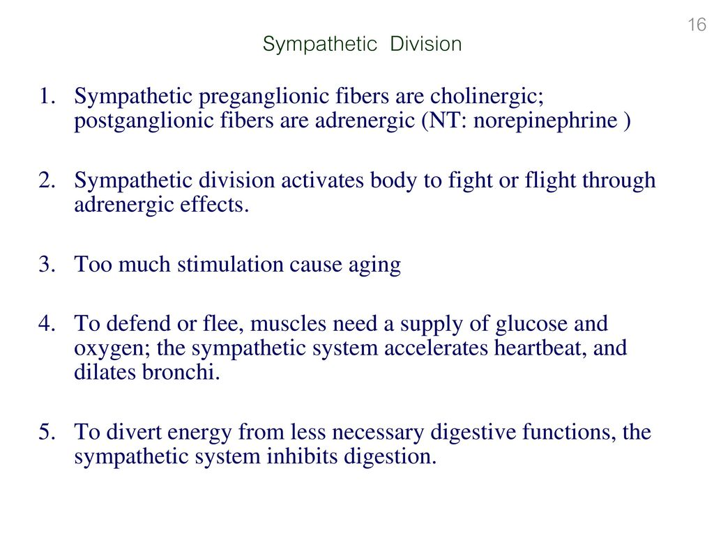 sympathetic division stimulation causes