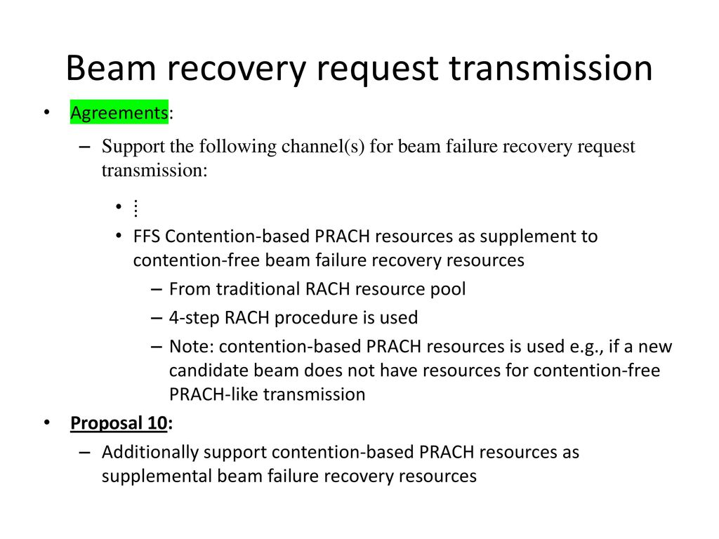 Summary on Beam Recovery Mechanism - ppt download