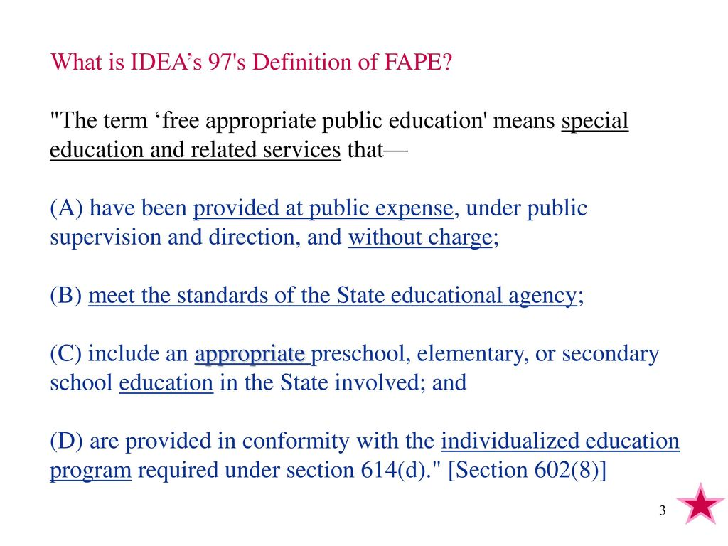 today's objectives what is idea's 97's definition of fape? what
