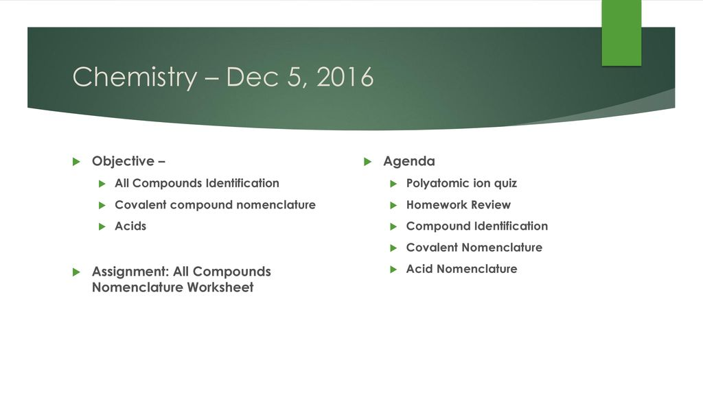 Chemistry Dec 5 2016 Do Now Study For Polyatomic Quiz Ppt