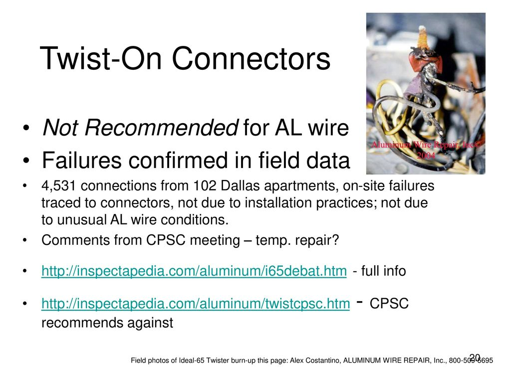 Residential Aluminum Wiring For Electricians Ppt Download Repairing Twist On Connectors Not Recommended Al Wire