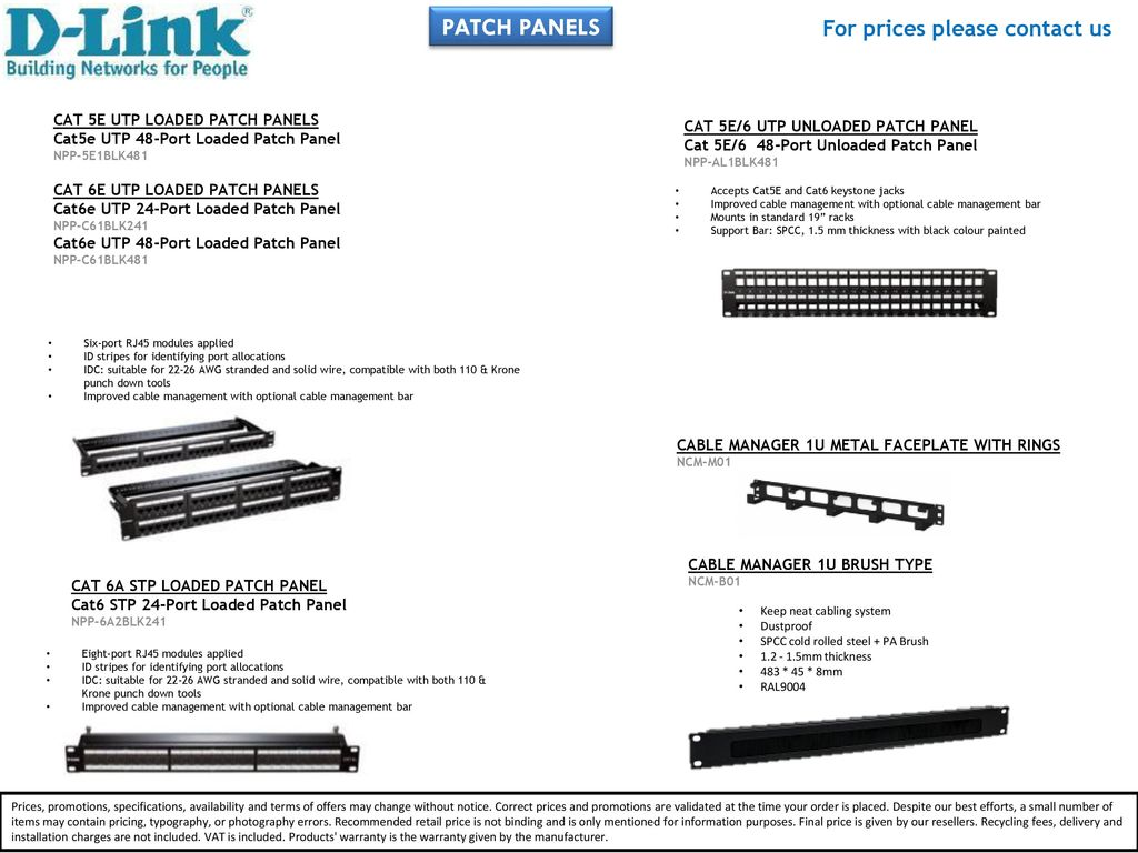 For Prices Please Contact Us Ppt Download 19inch Cat6 Utp Patch Panel T568a T568b Wiring 1ru 110 Termination 3 Panels