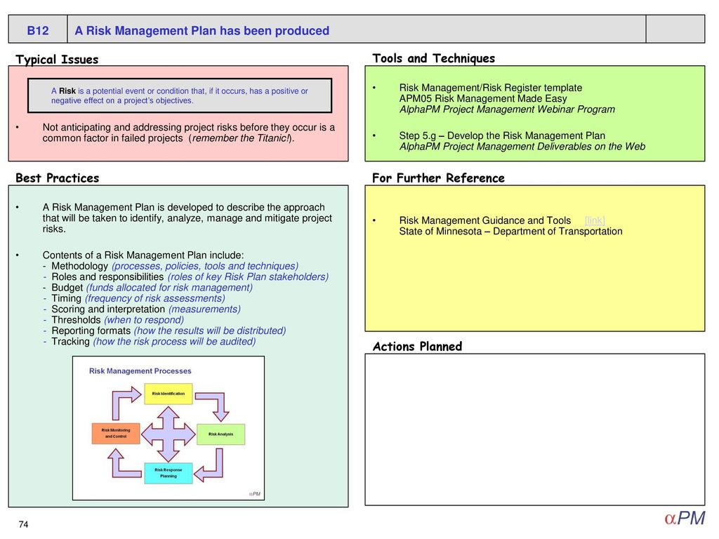 project techniques and risk management The project risk management plan summarizes the project risk management approach that has been adopted by the project manager and the team, and this project risk management plan is usually part of the project business plan, which is created at the start of the project.