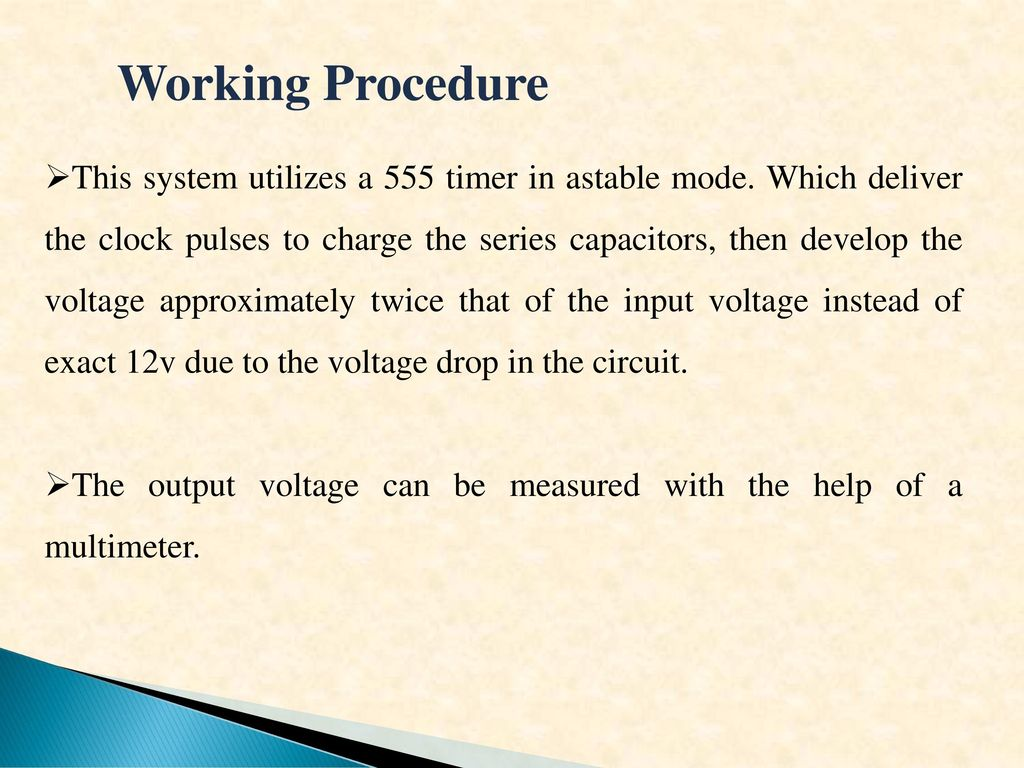Low Voltage Dc Tohigher Up 6 Volt To 10 Using The Circuit Uses A 555 Timer Oscillator Supply Clock Pulses Of 12 Working Procedure This System Utilizes In Astable Mode Which Deliver