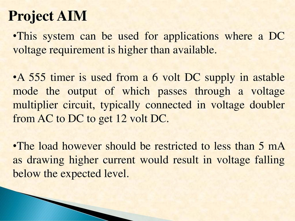 Low Voltage Dc Tohigher Up 6 Volt To 10 Using This Is A Diagram Of Basic 6v System Converted 12v Zenor Project Aim Can Be Used For Applications Where Requirement Higher