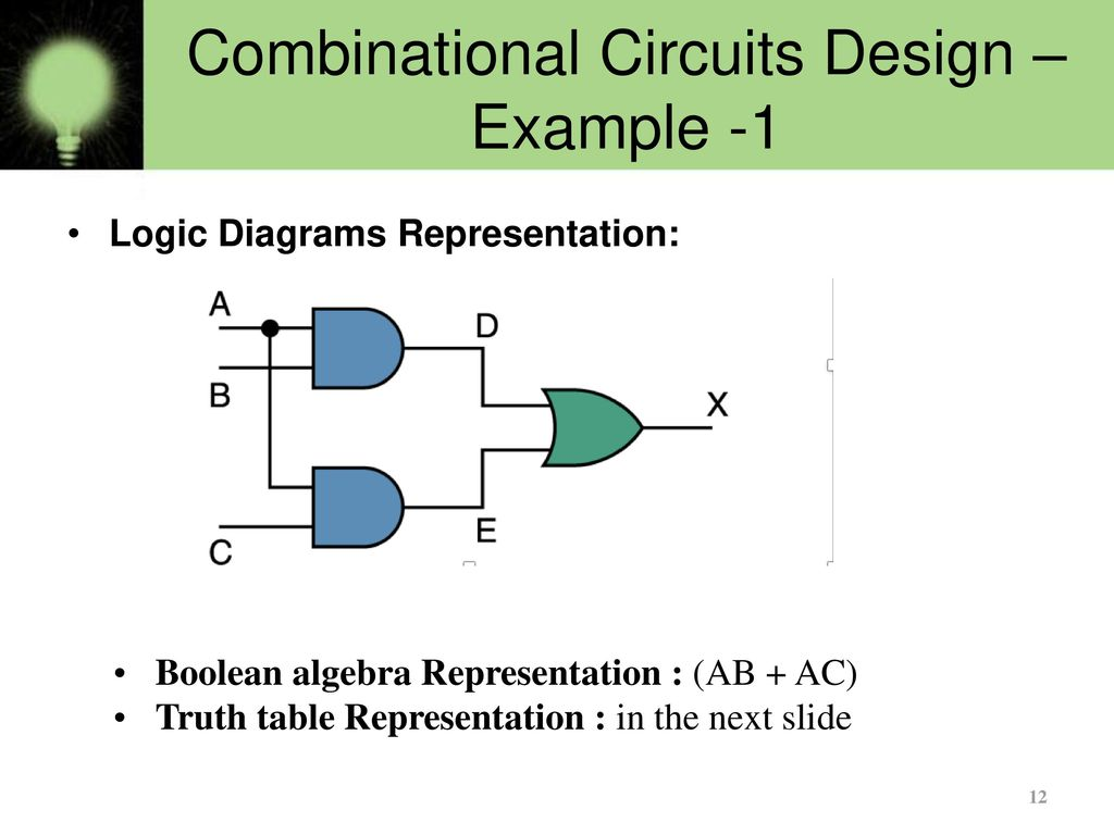 Basics Of Logic Gates Part 2 Ppt Download Diagram Truth Table 12 Combinational Circuits Design Example 1 Diagrams