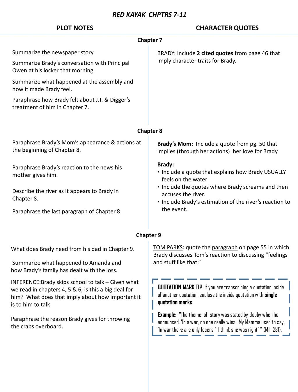 Red Kayak Chptrs 7 11 Plot Notes Character Quotes Ppt Download