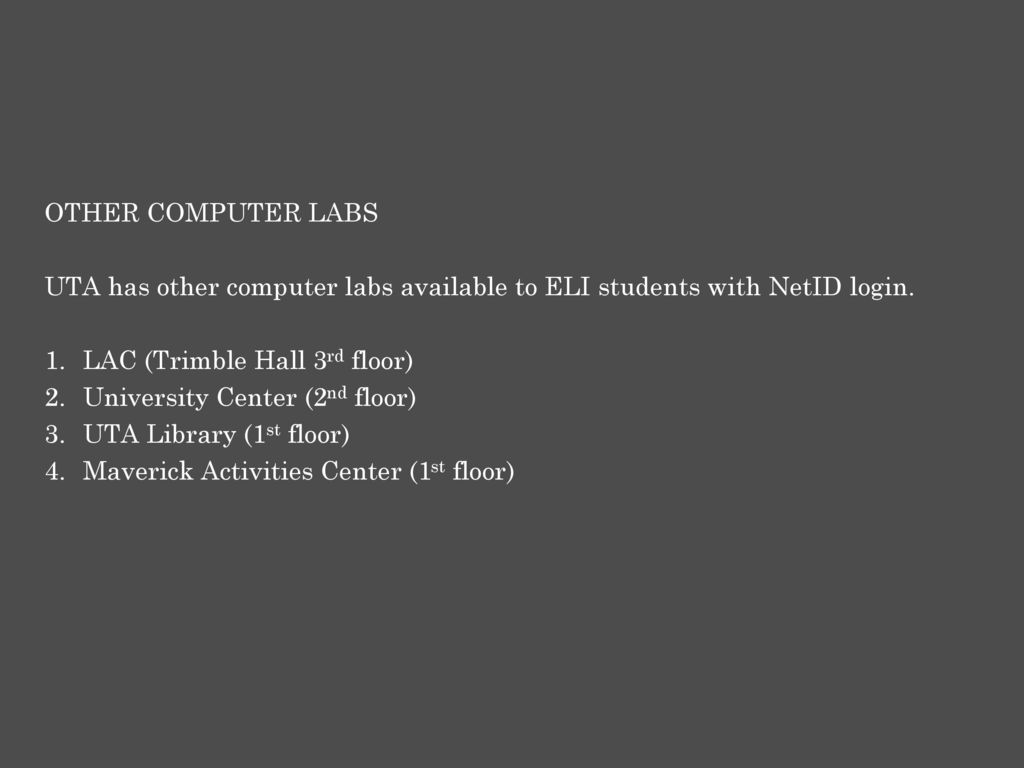 COMPUTER LAB, , MYMAV, WIFI GUIDE FOR ELI STUDENTS - ppt