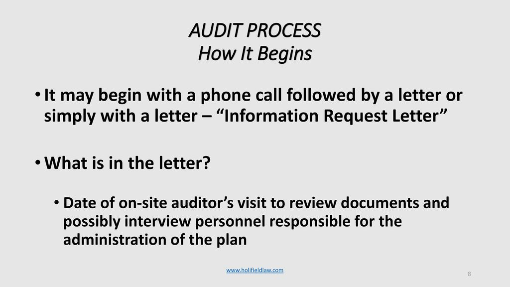 HOW TO PREPARE FOR A DOL OR IRS QUALIFIED PLAN AUDIT - ppt