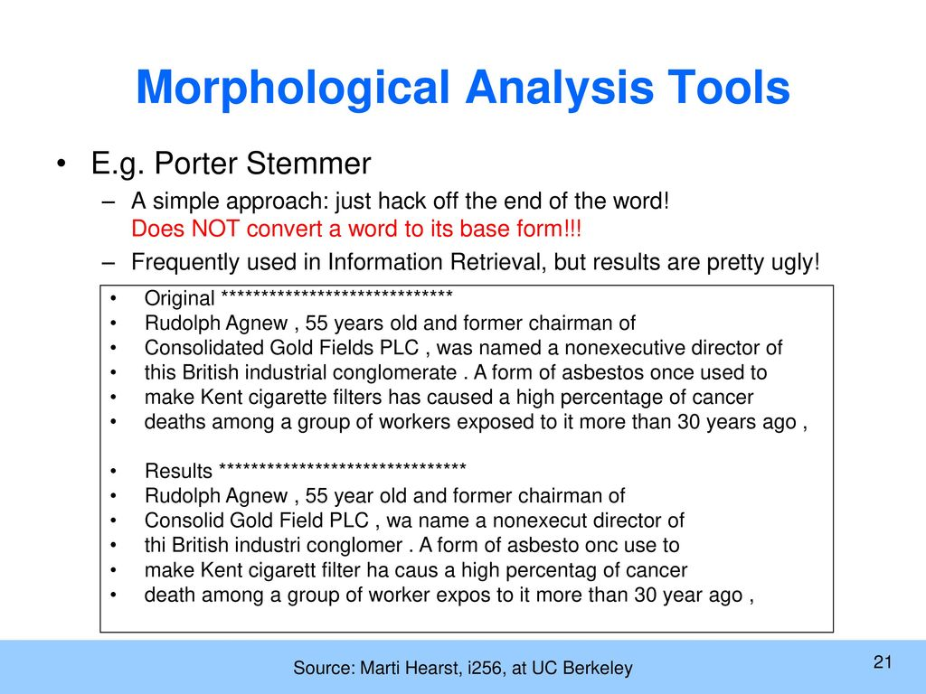 How to make a morphological analysis of a word