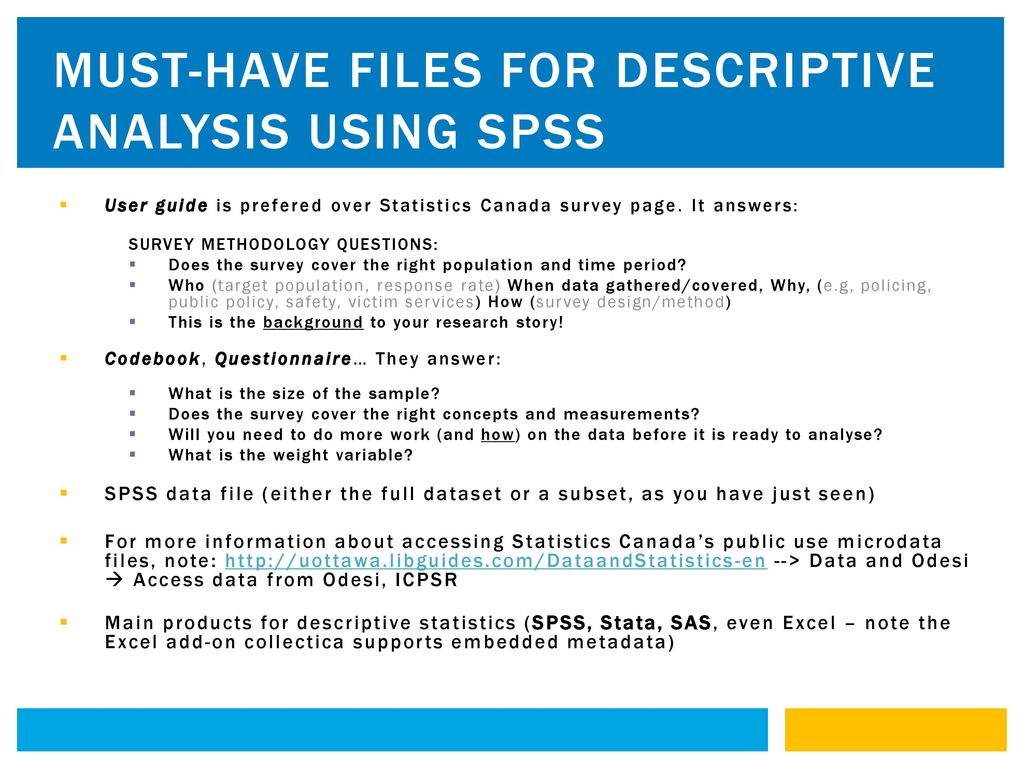 Must-have files for descriptive analysis using spss