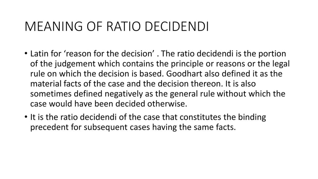 ratio decidendi in a sentence