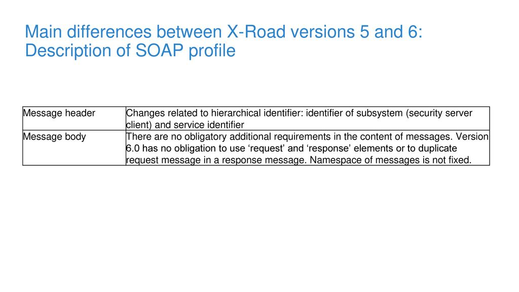 Main differences between X-Road versions 5 and 6: Description of SOAP profile