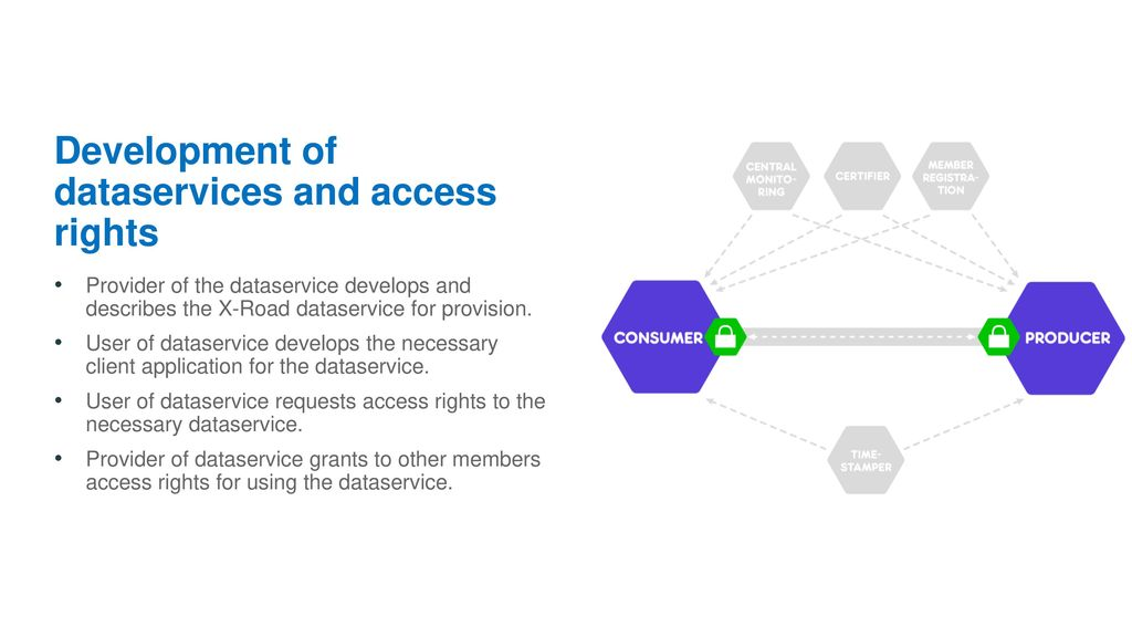 Development of dataservices and access rights
