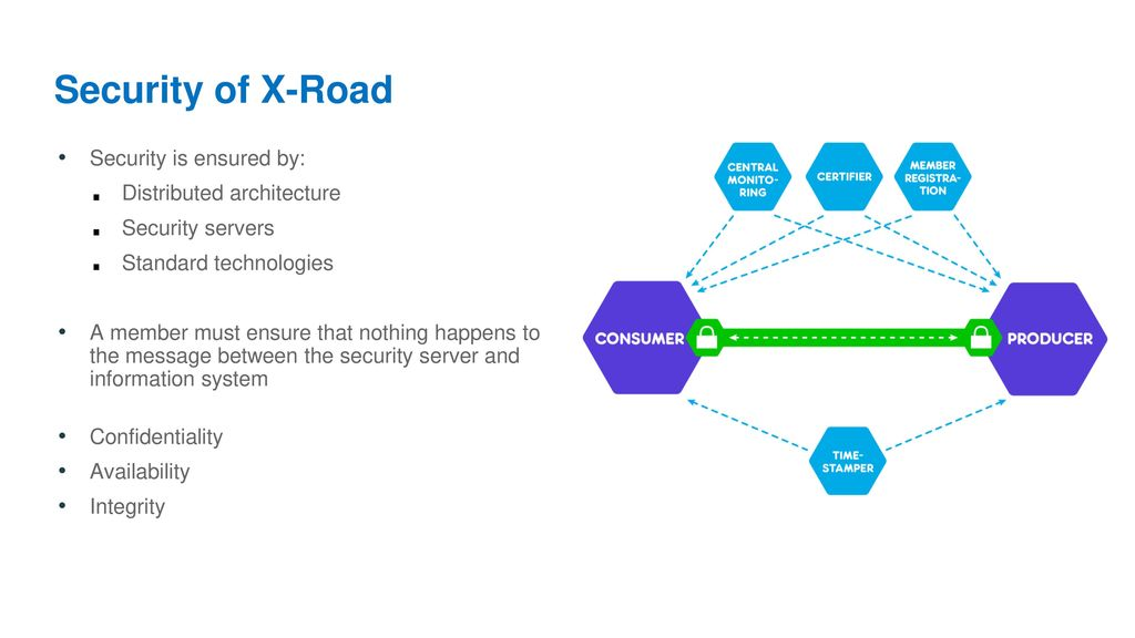 Security of X-Road Security is ensured by: Distributed architecture
