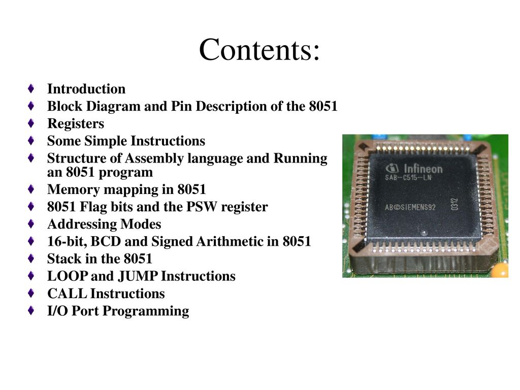 The 8051 Microcontroller Architecture Ppt Download Basic Circuit Diagram Contents Introduction Block And Pin Description Of
