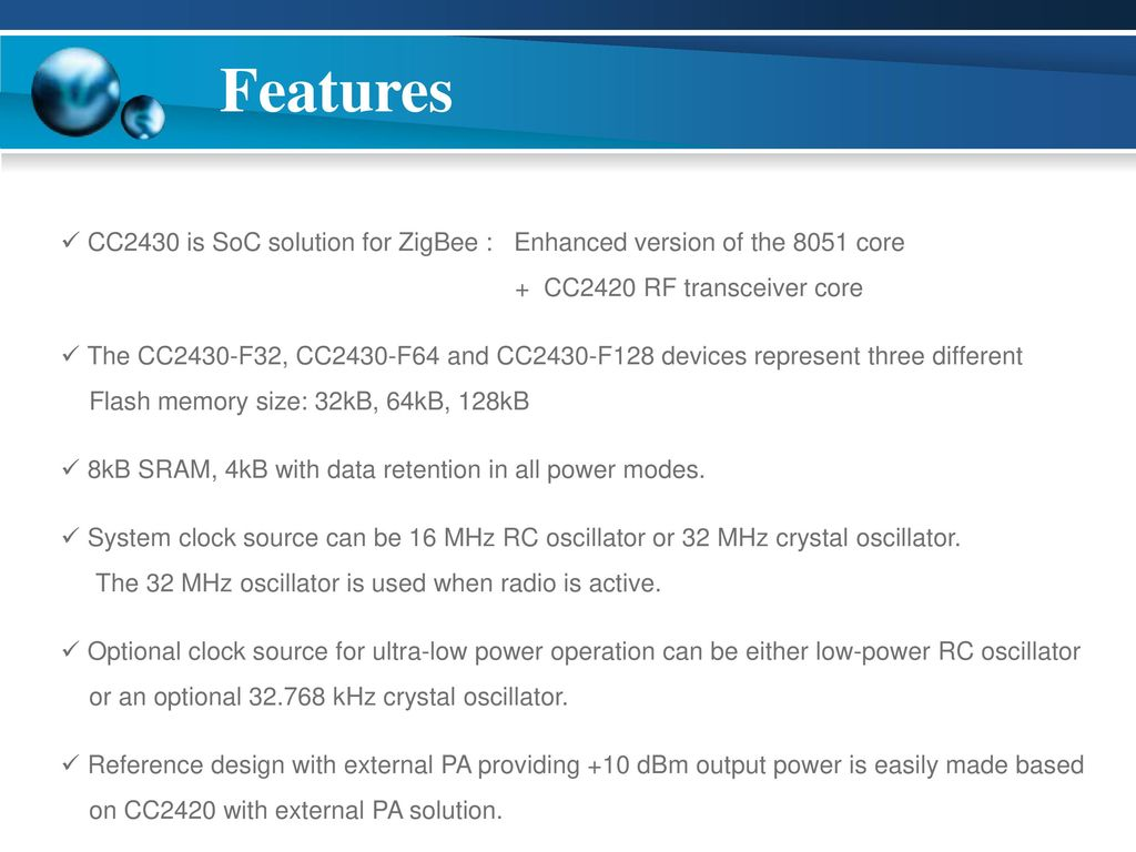 Cc2430 Module Jinho Son Real Time System Lab Ppt Download Microcontroller Clock Crystal Resonator Rc Oscillator Or Silicon 3 Features
