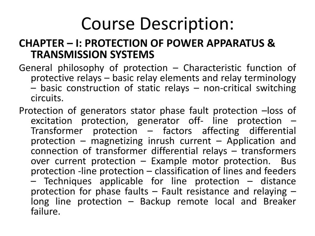 Eeng 6046 Power System Protection And Circuit Breakers Ppt Download How To Turn Off A Breaker Electrical Basics Course Description Chapter I Of Apparatus Transmission Systems