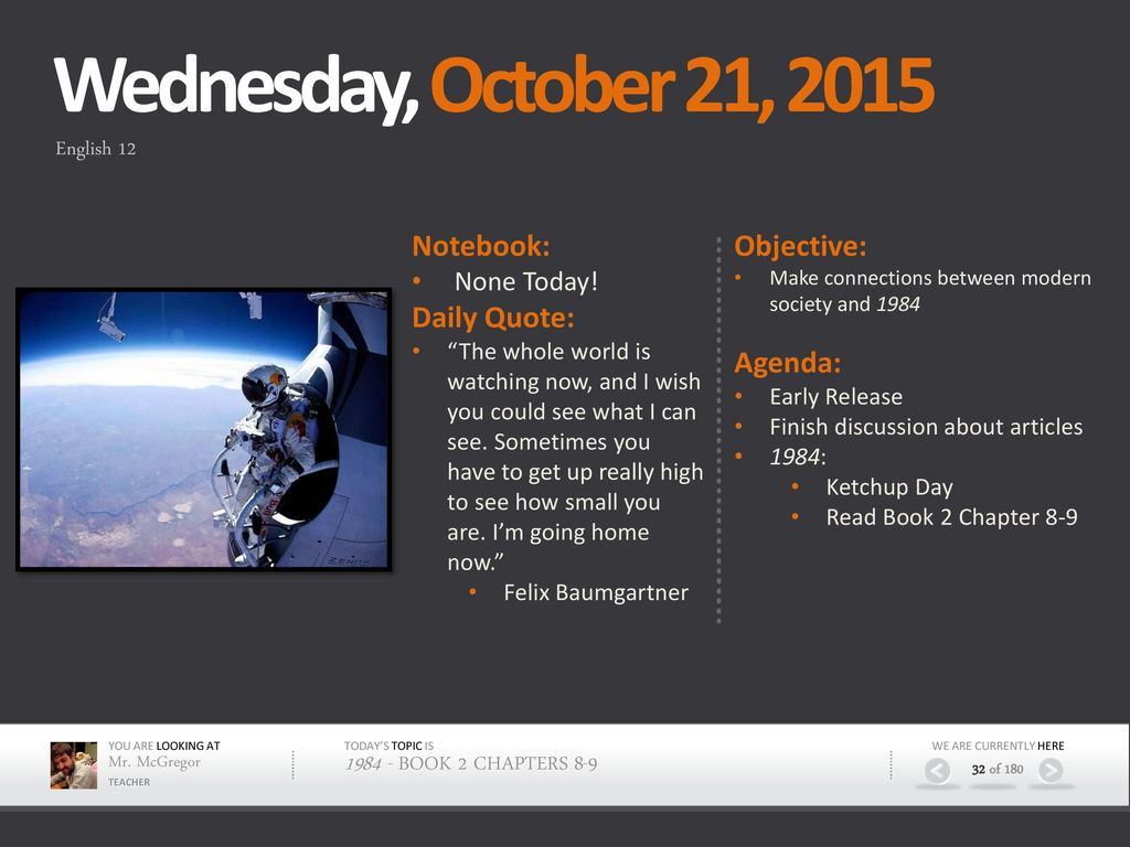 Monday, October 19, 2015 Objective: Agenda: Notebook: Daily