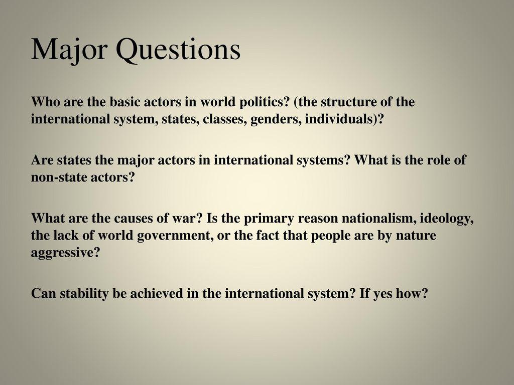 major actors in international politics