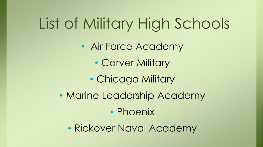 List of Military High Schools