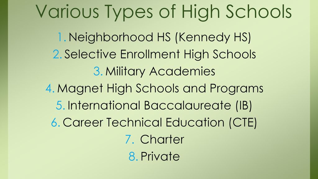 Various Types of High Schools