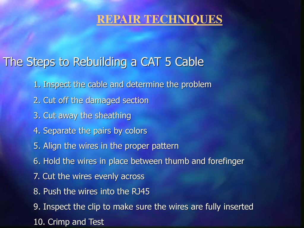Creating A 568a 568b Or Crossover Cable Creatordennis Groseclose Rj45crossovercablejpg The Steps To Rebuilding Cat 5